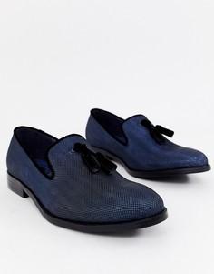 Темно-синие блестящие лоферы с кисточками Burton - Черный