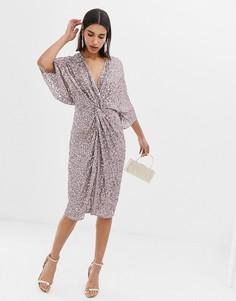 Платье-кимоно миди с перекрученной отделкой спереди и пайетками ASOS DESIGN - Серый