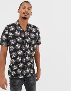 Новогодняя рубашка с короткими рукавами, отложным воротником и рождественским пудингом Urban Threads - Черный