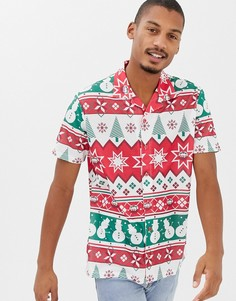 Новогодняя рубашка с короткими рукавами, отложным воротником и узором Фэйр-Айл Urban Threads - Мульти