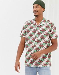 Новогодняя рубашка с короткими рукавами, отложным воротником и принтом Urban Threads - Мульти