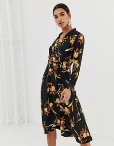 Платье миди с запахом на пуговице и цветочным принтом Neon Rose - Черный