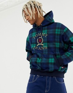 Tommy Jeans 6.0 Limited Capsule hoodie with large crest logo in tartan - Темно-синий