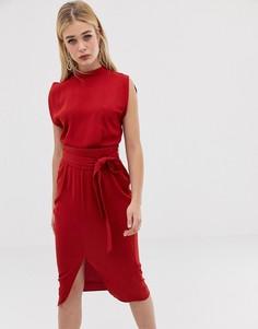 Платье миди с поясом оби и разрезами на рукавах ASOS DESIGN - Красный