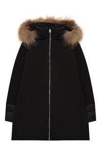 Пуховое пальто на молнии с капюшоном Add