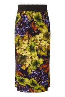 Юбка с виноградным принтом Dolce & Gabbana