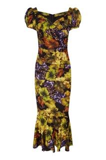 Платье миди с виноградным принтом Dolce & Gabbana