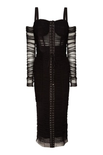 Черное платье с воланами и шнуровкой Dolce & Gabbana