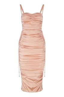 Розовое платье со шнуровкой и драпировкой Dolce & Gabbana