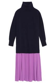 Комбинированное шерстяное платье Sandro