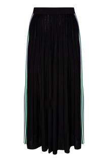 Длинная черная юбка с контрастными вставками Sandro