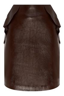 Короткая коричневая юбка Sandro