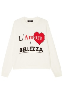 Белый джемпер с надписью Dolce & Gabbana