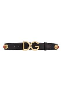 Черный ремень с кристаллами Dolce & Gabbana