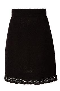 Черная юбка с кружевной отделкой Dolce & Gabbana