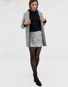 Мини-юбка с пайетками Jack Wills - Серебряный