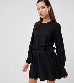 Платье мини с присборенной талией ASOS DESIGN Tall - Черный