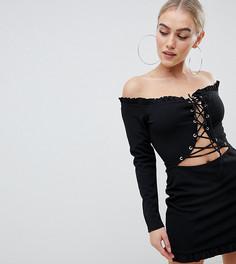 Черное платье с широким вырезом, шнуровкой и длинными рукавами Missguided Petite - Коричневый