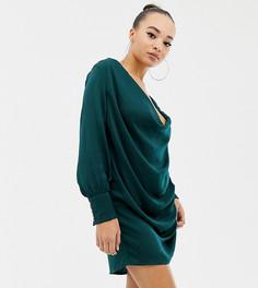 Атласное платье мини со свободным воротом Parallel Lines - Зеленый