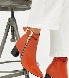 Кожаные ботинки на каблуке для широкой стопы с молниями Depp - Оранжевый