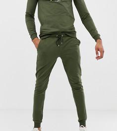 Спортивный костюм из худи и джоггеров скинни цвета хаки с тигровым принтом ASOS DESIGN tall - Зеленый