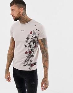 Обтягивающая футболка с принтом черепа и роз Religion - Розовый