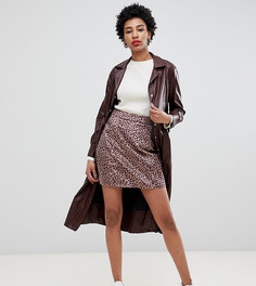Мини-юбка с леопардовым принтом Glamorous Tall - Бежевый