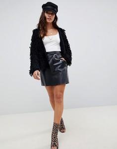 Короткая юбка-трапеция из искусственной кожи с ремнем ASOS DESIGN - Черный