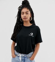 Черная oversize-футболка с логотипом в виде звезды и шеврона Converse - Белый