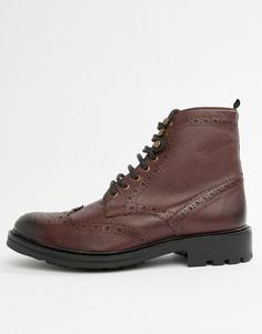 Бордовые кожаные ботинки‑броги WALK London Sean - Красный