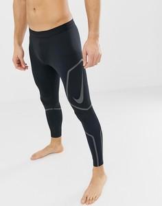 Черные леггинсы со светоотражающей отделкой Nike Running Tech AH7943-010 - Черный
