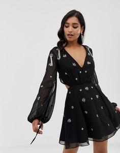 Платье мини с длинными рукавами и отделкой ASOS DESIGN - Черный