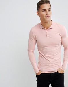 Розовый обтягивающий трикотажный лонгслив-поло ASOS DESIGN - Розовый