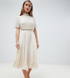 Платье миди с кроп-топом и декоративной отделкой ASOS DESIGN Petite - Кремовый