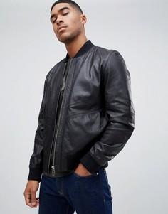 Черная кожаная куртка HUGO - Черный