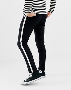 Строгие брюки с атласными полосками по бокам Only & Sons - Черный