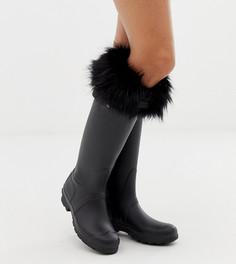 Черные толстые носки с отделкой из искусственного меха Hunter - Черный