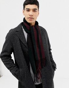 Саржевый шарф в сине-бордовую полоску Burton Menswear - Красный