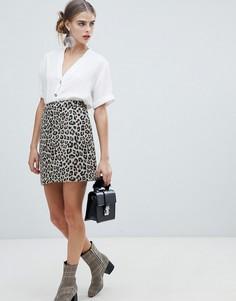 Юбка с леопардовым принтом New Look - Коричневый