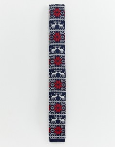 Трикотажный галстук со снежинками Devils Advocate - Темно-синий