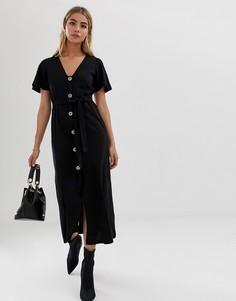 Чайное платье макси на пуговицах ASOS DESIGN - Черный