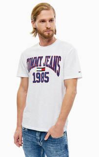 Хлопковая белая футболка с принтом Tommy Jeans