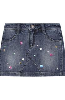 Джинсовая мини-юбка с декоративными потертостями и металлизированной отделкой Marc Jacobs