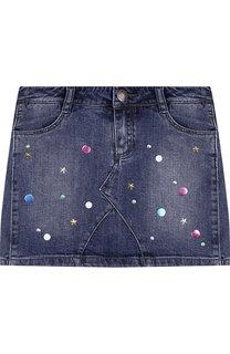 Джинсовая мини-юбка с металлизированной отделкой Marc Jacobs