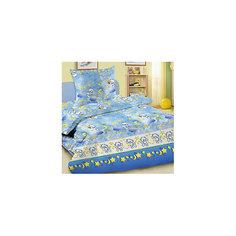 Детское постельное белье 3 предмета Letto, Лунные мишки, синий (простынь на резинке)