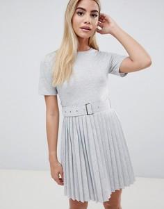 Платье мини с плиссированной юбкой и поясом ASOS DESIGN - Серый
