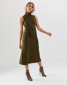 Платье миди с отворачивающимся воротником и поясом ASOS DESIGN - Зеленый
