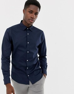Темно-синяя приталенная рубашка Jack & Jones Essentials - Темно-синий