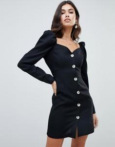 Платье мини на пуговицах с длинными рукавами ASOS DESIGN - Черный