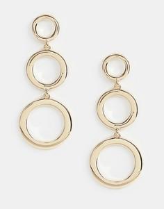 Золотистые серьги с тремя круглыми подвесками Missguided - Золотой